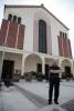 Buscate - Don Giuseppe davanti alla chiesa parrocchiale