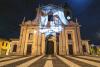 Castano Primo - La videoproiezione sulla prepositurale di San Zenone dello scorso anno (Foto d'archivio Stefano Jemma)