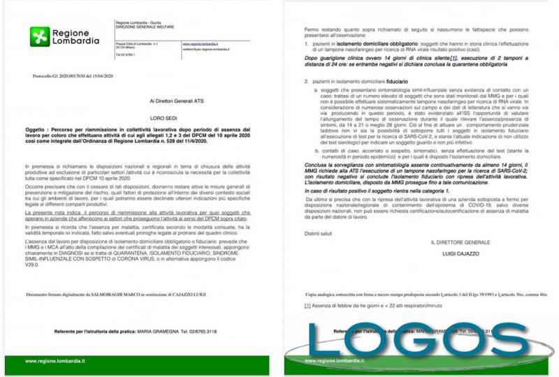 Salute - Lettera di Regione Lombardia ai medici (foto internet)