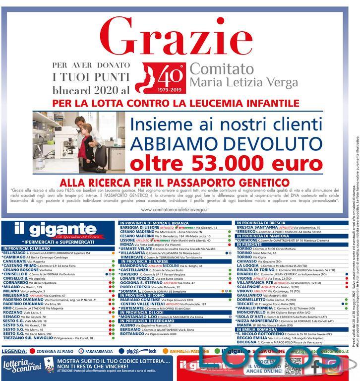 Commercio / Sociale - 'Il Gigante' per il Comitato Maria Letizia Verga